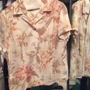 Hawaiian silk top, blouse, short, Evan picone, 12